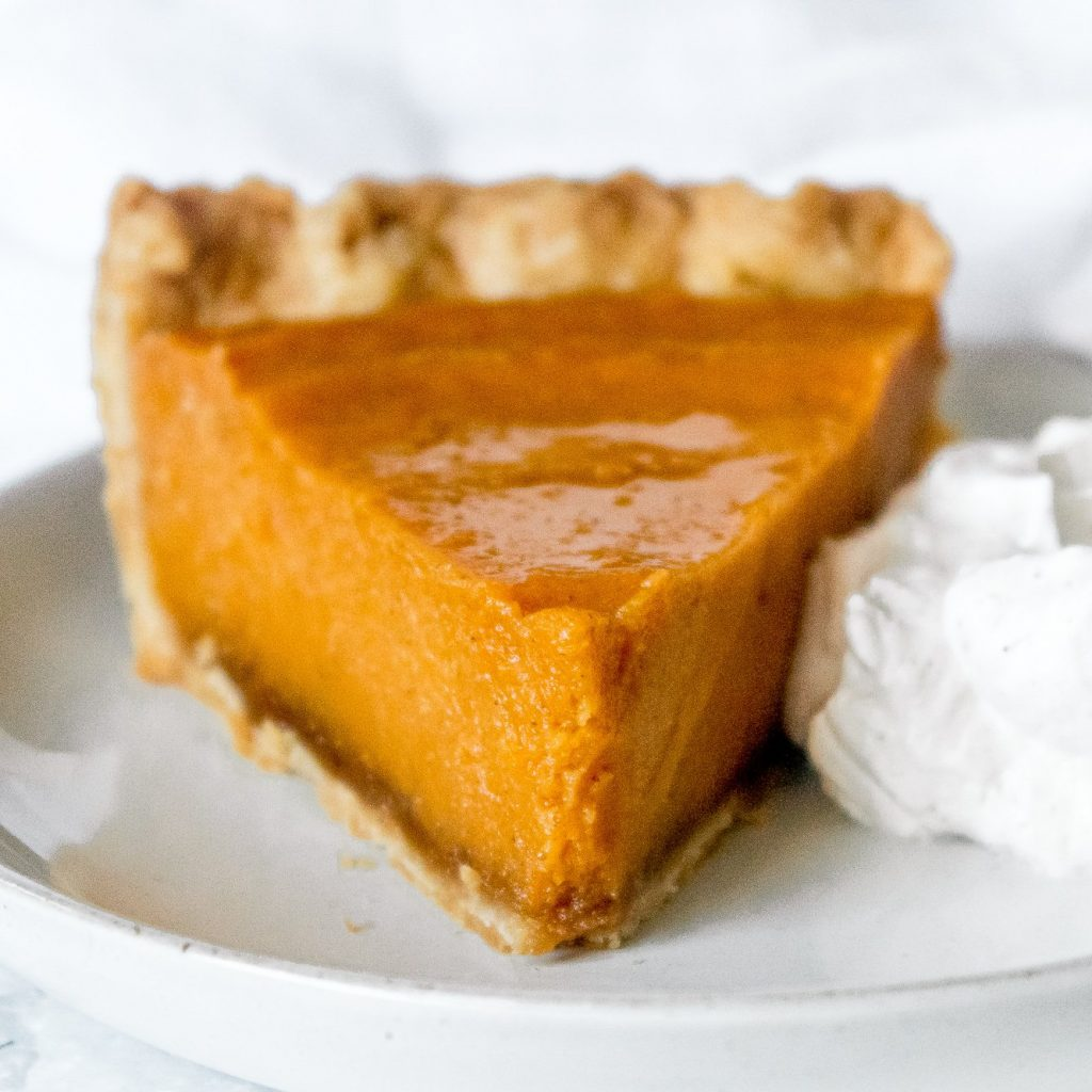 Close up of a slice of brown butter sweet potato pie