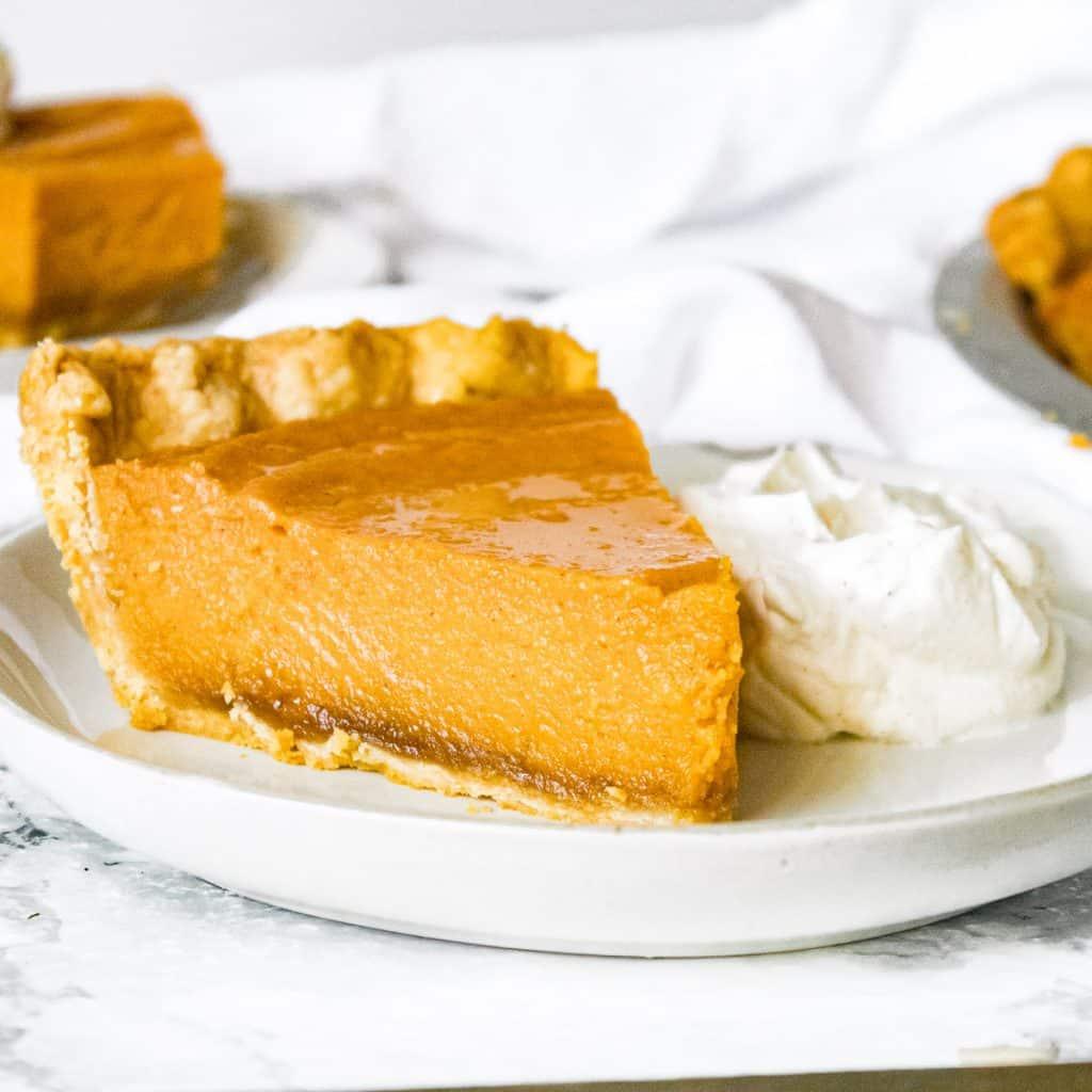 Closeup of brown butter sweet potato pie
