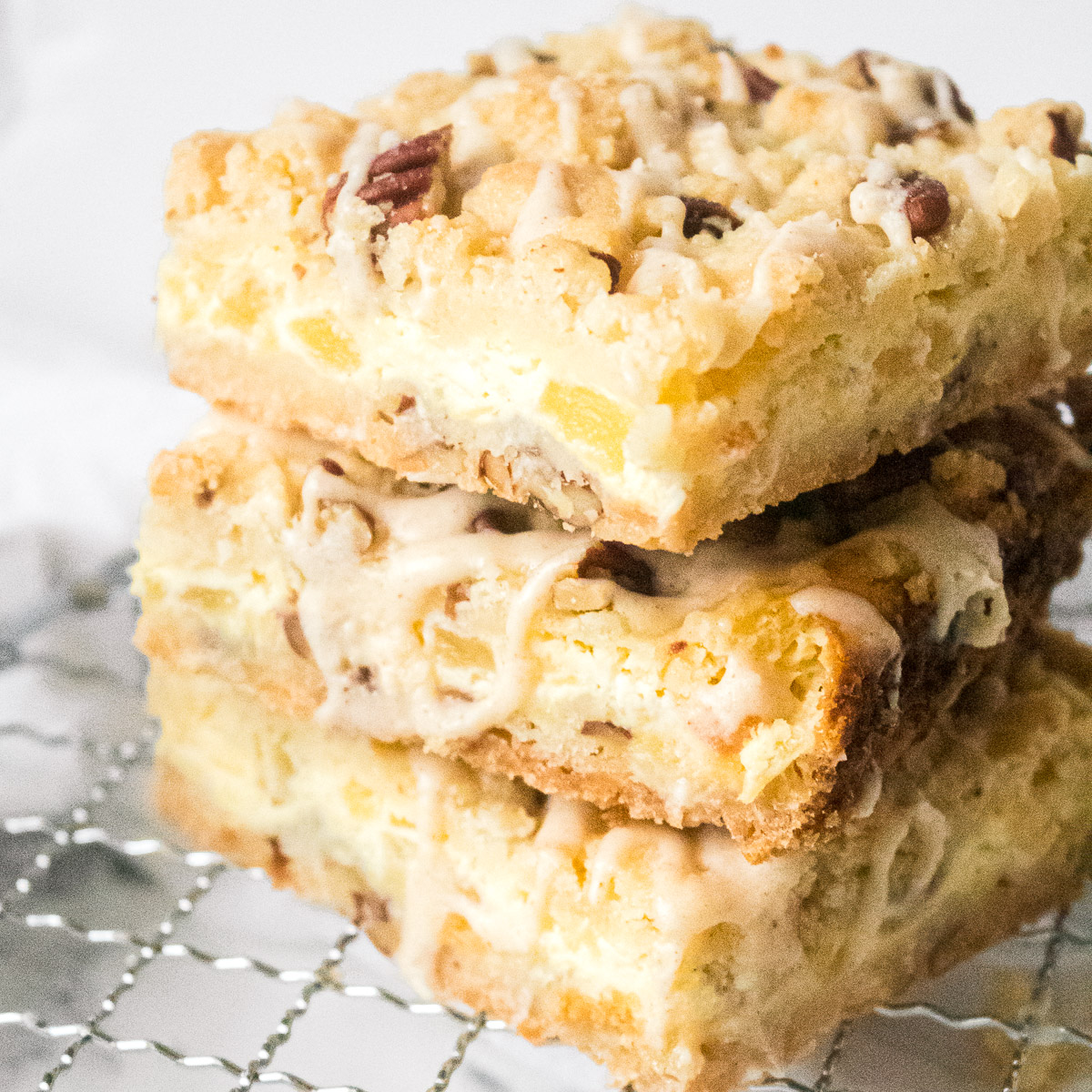 Pineapple Bars with Cream Cheese and Coconut Drizzle