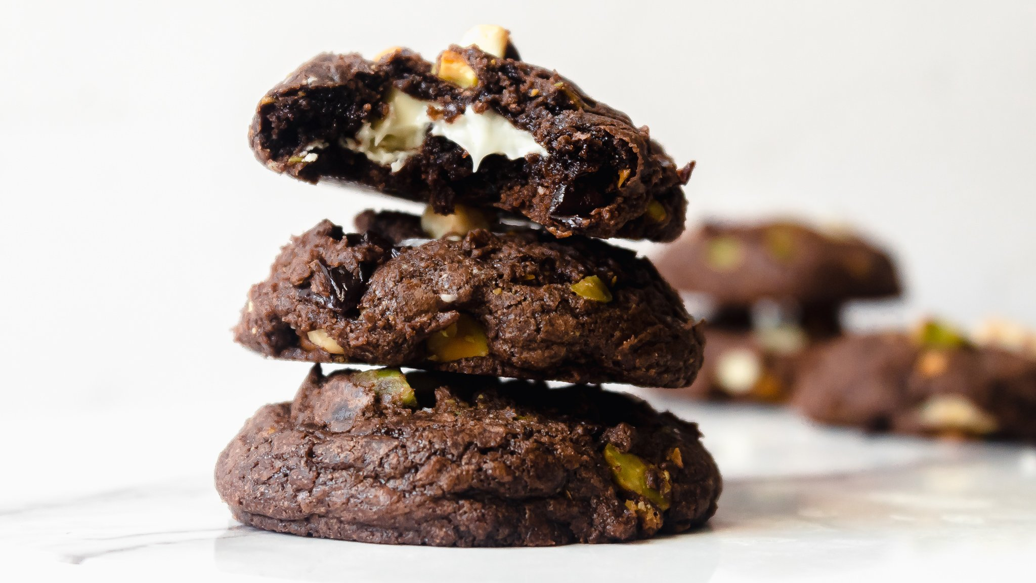 Brownie Mix Cookies with White Chocolate, Cherries and Pistachios