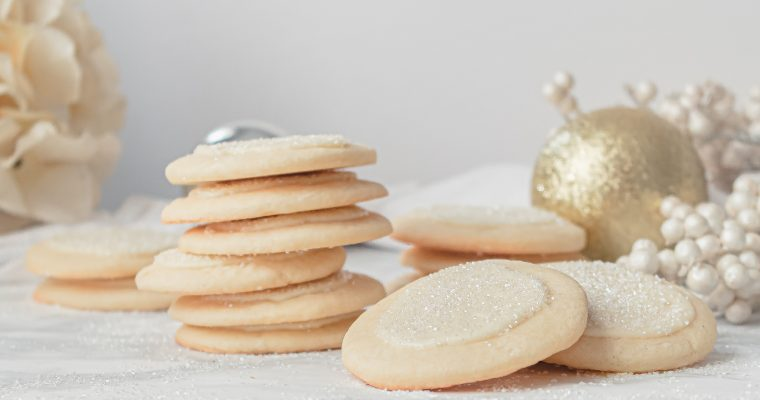 Peppermint White Chocolate Cookies with Sparkling Sugar