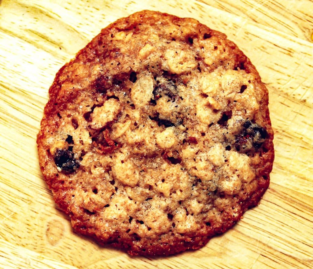 close up of oatmeal cookie