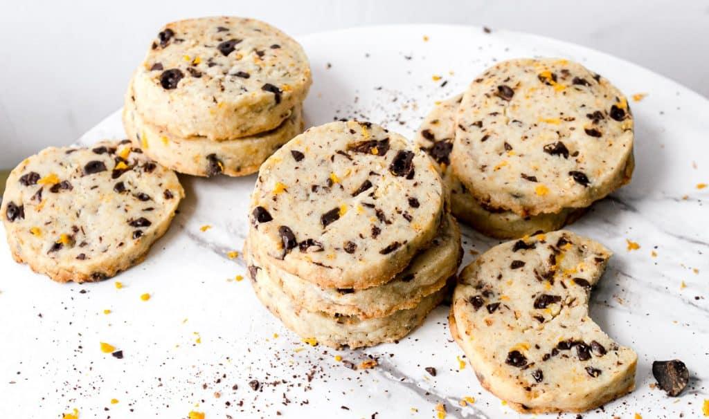 stacks of chocolate orange shortbread cookies