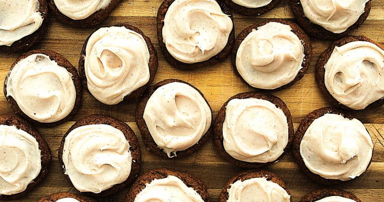No Chill Gingerbread Cookies with Stout and Brown Butter Cream Cheese Frosting