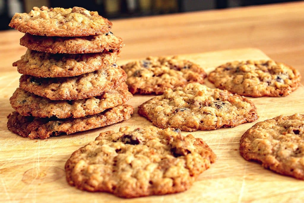 stack of cranberry oatmeal pecan lace cookies
