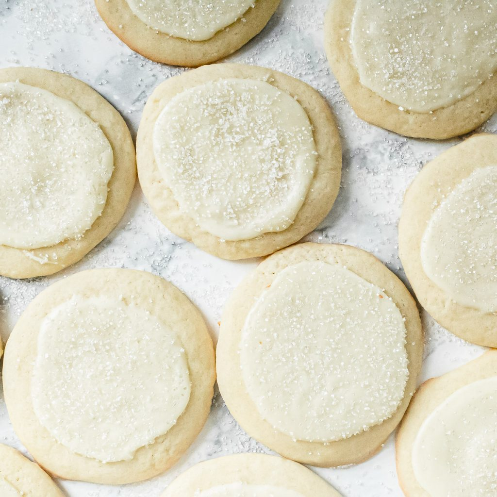peppermint white chocolate sugar cookies seen from above