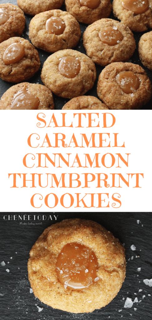 salted caramel cinnamon thumbprint cookies