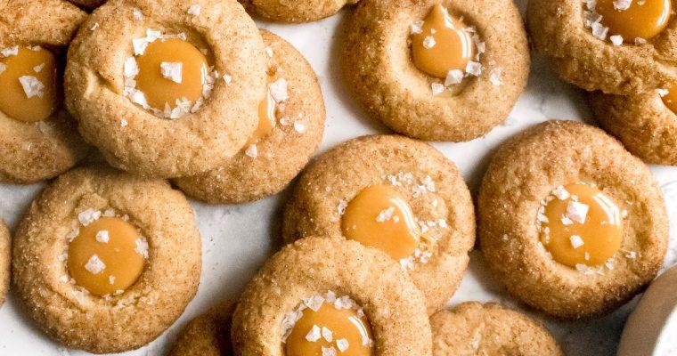 Salted Caramel Thumbprint Cookies with Cinnamon Sugar