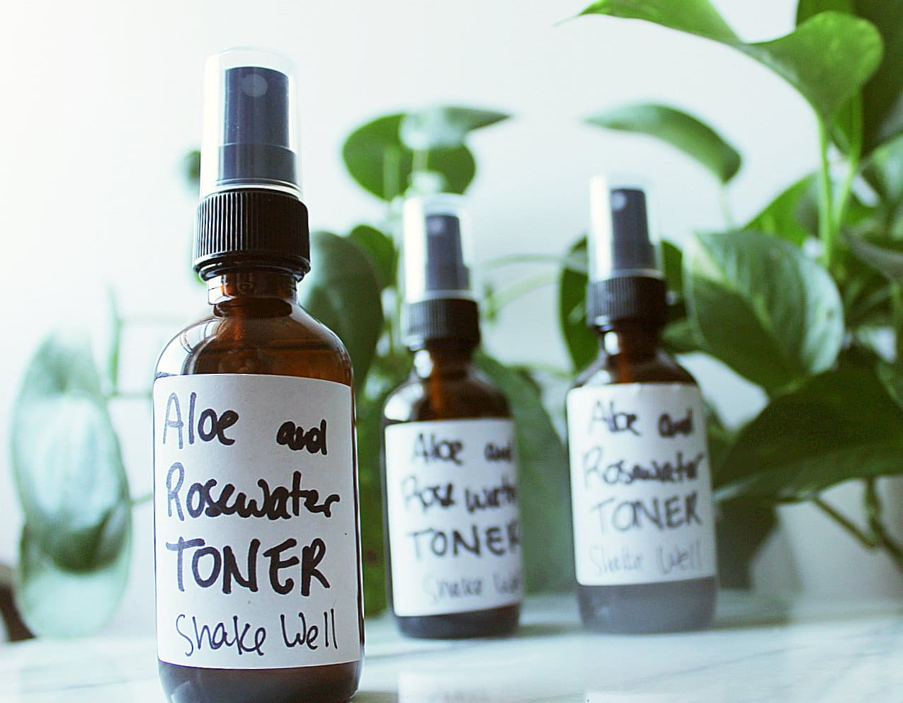 DIY Facial Toner with Aloe and Rose Water