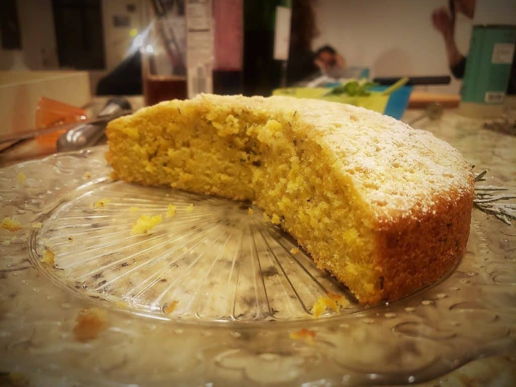 a cut rosemary citrus olive oil cake