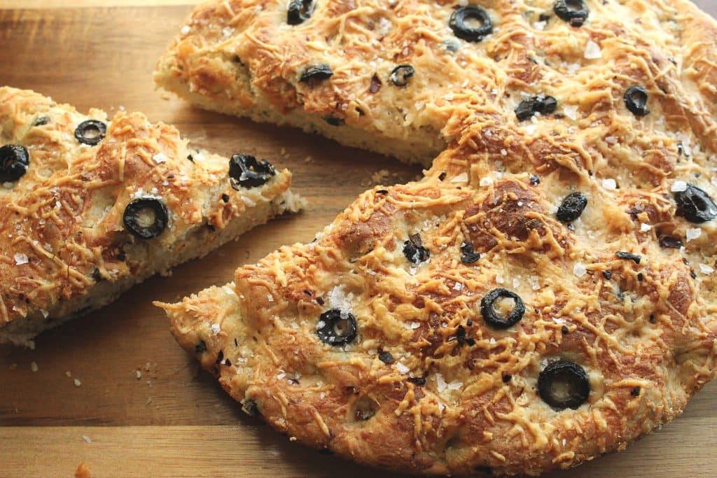 Easy Skillet Black Olive and Parmesan Focaccia Bread Recipe | Chenée Today