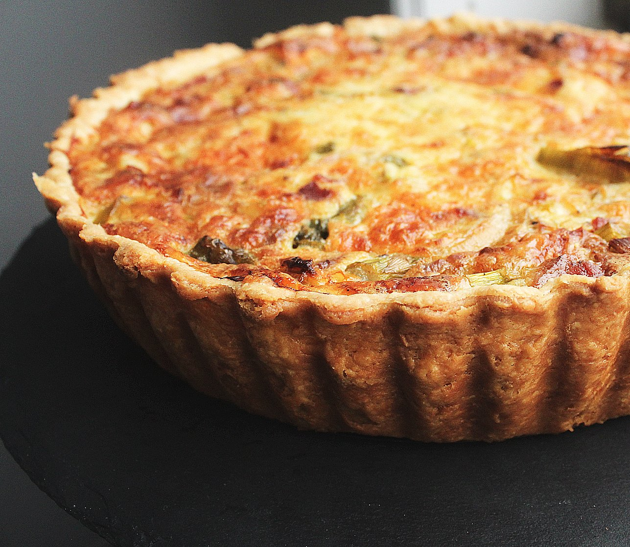 Breakfast Quiche with Leeks, Bacon, and Asparagus