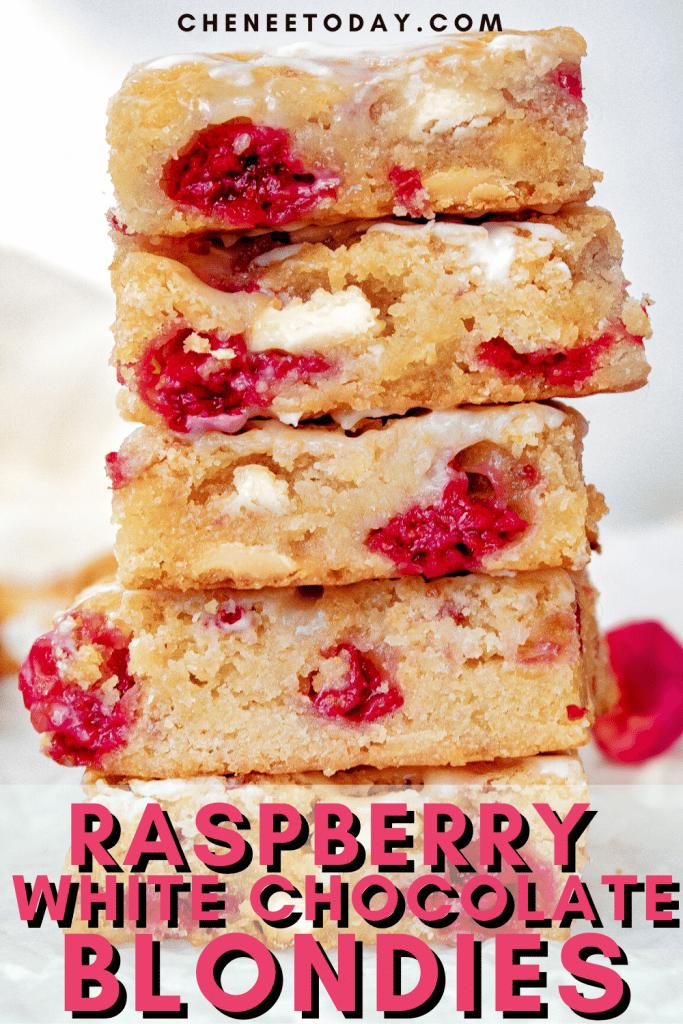 Raspberry and White Chocolate Blondies Recipe - So Easy! | Chenée Today