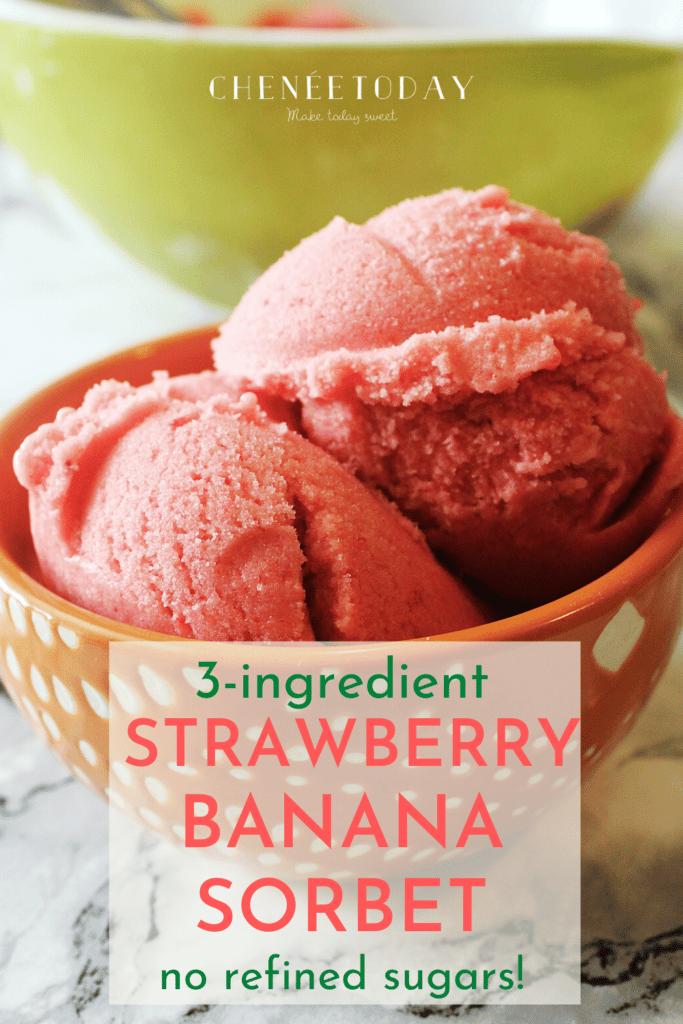 Strawberry Banana Sorbet - 3 Ingredients and NO Refined Sugar!