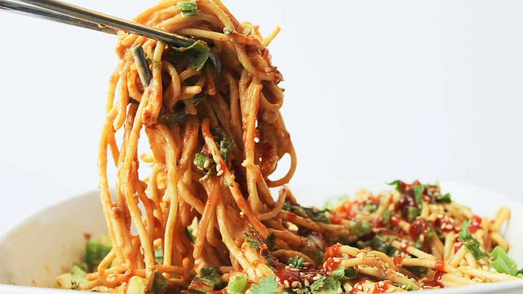Spicy Peanut Noodle Salad Recipe - Vegan and Gluten Free!   Chenée Today