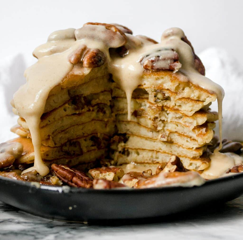 banana pancake recipe with toasted pecans and maple brown butter glaze