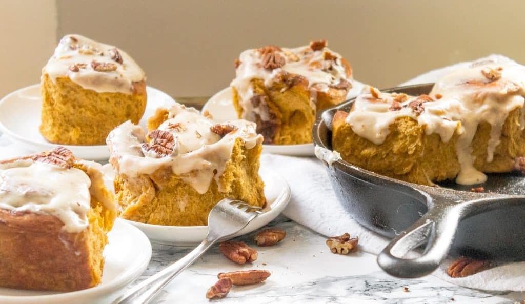 Homemade Brown Butter Pecan Pumpkin Cinnamon Rolls with Easy Brown Butter Cream Cheese Frosting | Chenée Today