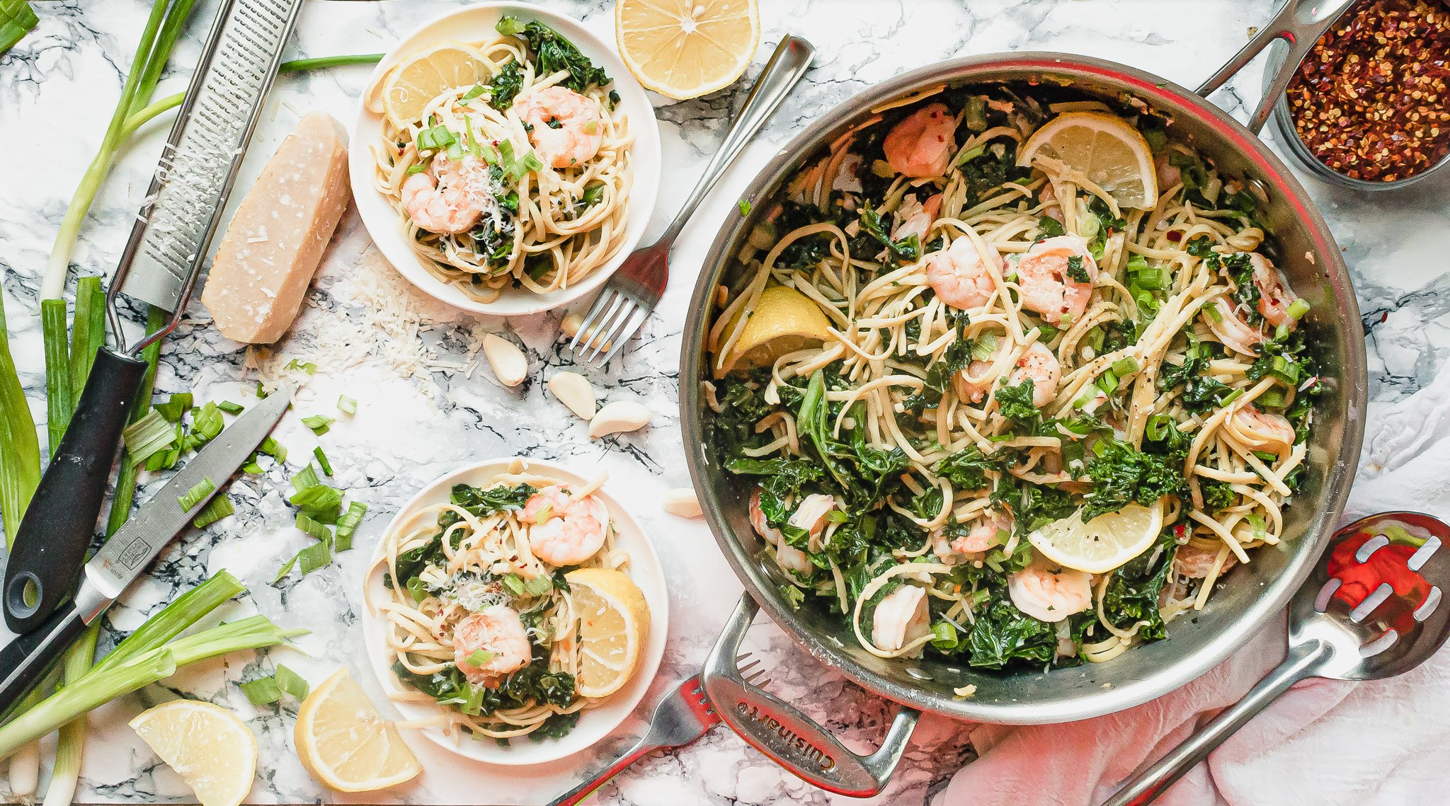 Lemon Shrimp Pasta with Kale