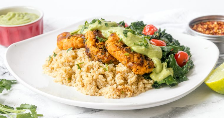 Sweet Potato Patties with Chickpeas and Creamy Avocado Sauce