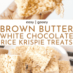 Gooey Brown Butter White Chocolate Rice Krispie Treats Recipe - the best ever! | Chenée Today