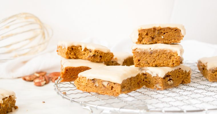 Pumpkin Blondies with Apple Cider Glaze