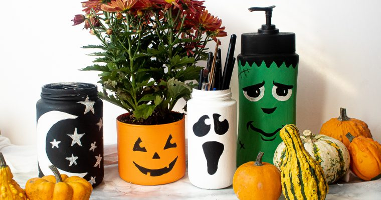 Halloween Painted Glass Jars