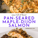 Easy Maple-Dijon Salmon with Skin, Pan Seared in Cast Iron | Chenée Today