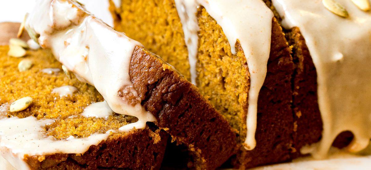 Sour Cream Pumpkin Bread with Maple Brown Butter Glaze