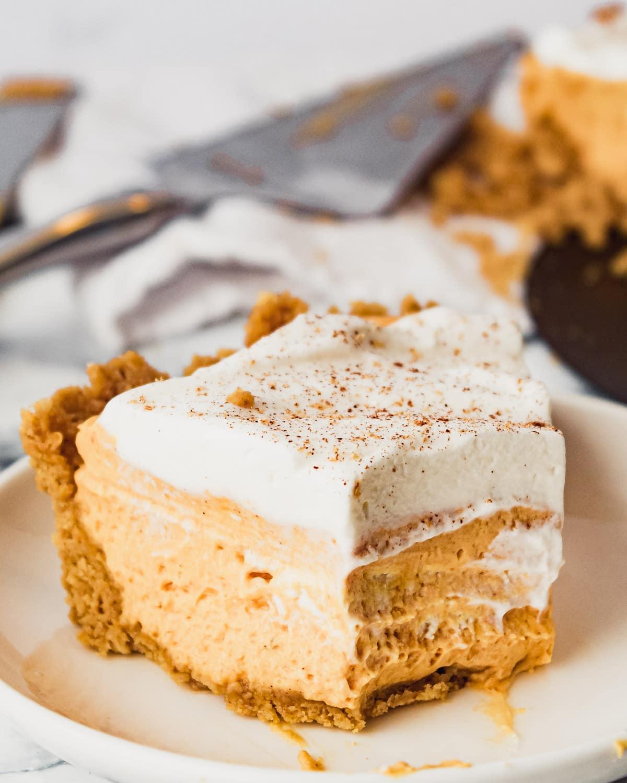 slice of pumpkin mousse pie