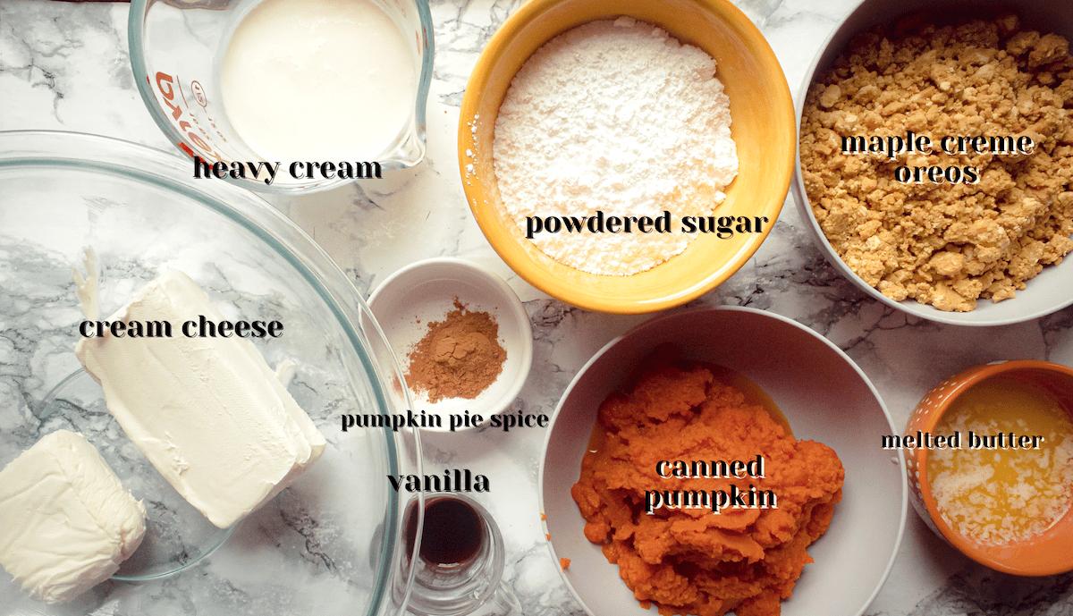 ingredients for pumpkin mousse pie