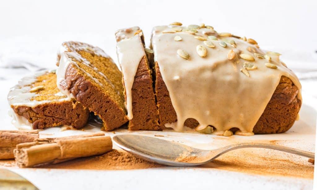 moist pumpkin bread seen from the side