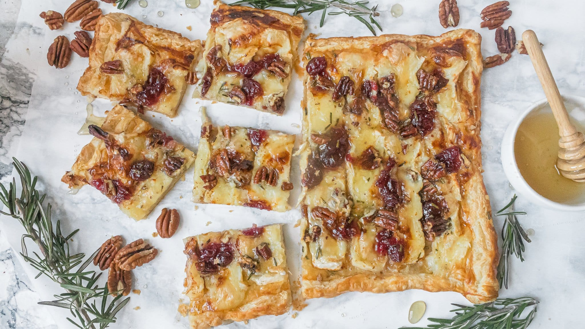 Puff Pastry Tart with Cranberry and Brie