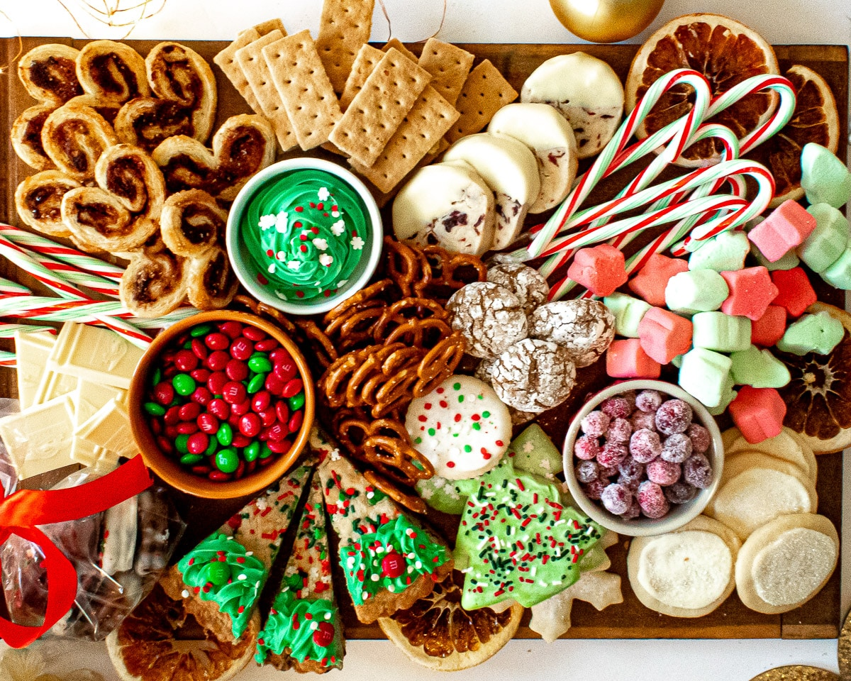 overhead view of CHristmas charcuterie board