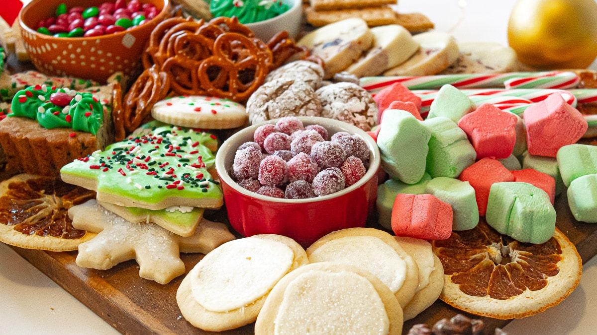 closeup of christmas food boards