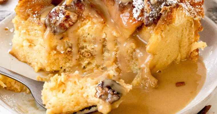 Eggnog Bread Pudding with Brown Butter Rum Sauce
