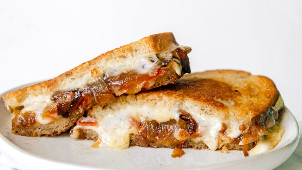 Havarti Grilled Cheese sandwich sliced