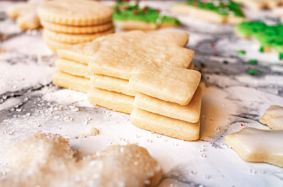 stack of undecorated sugar cookies