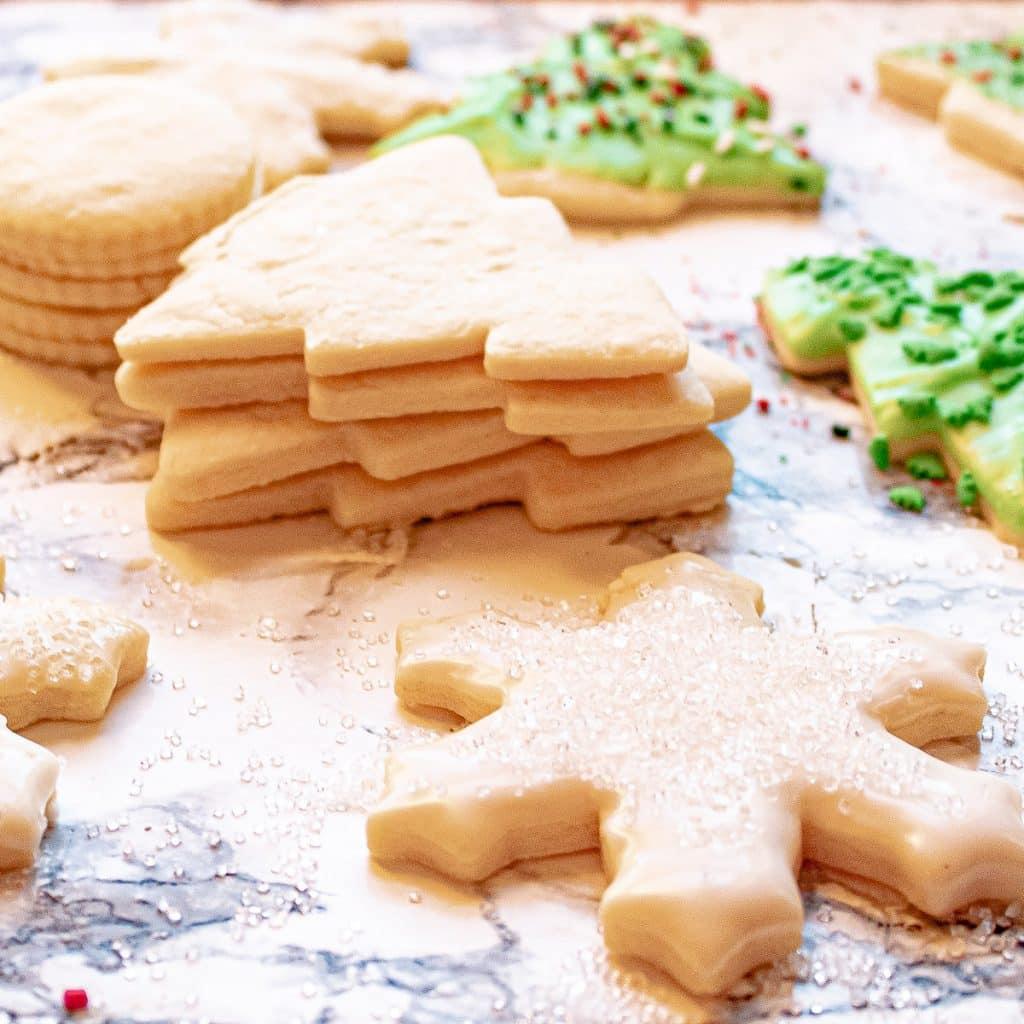 stack of sugar cookies before decorating