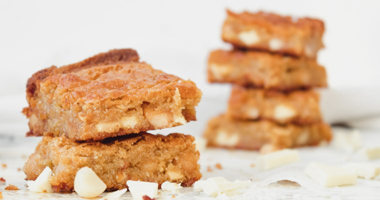 Gluten Free Blondies with White Chocolate Chunks
