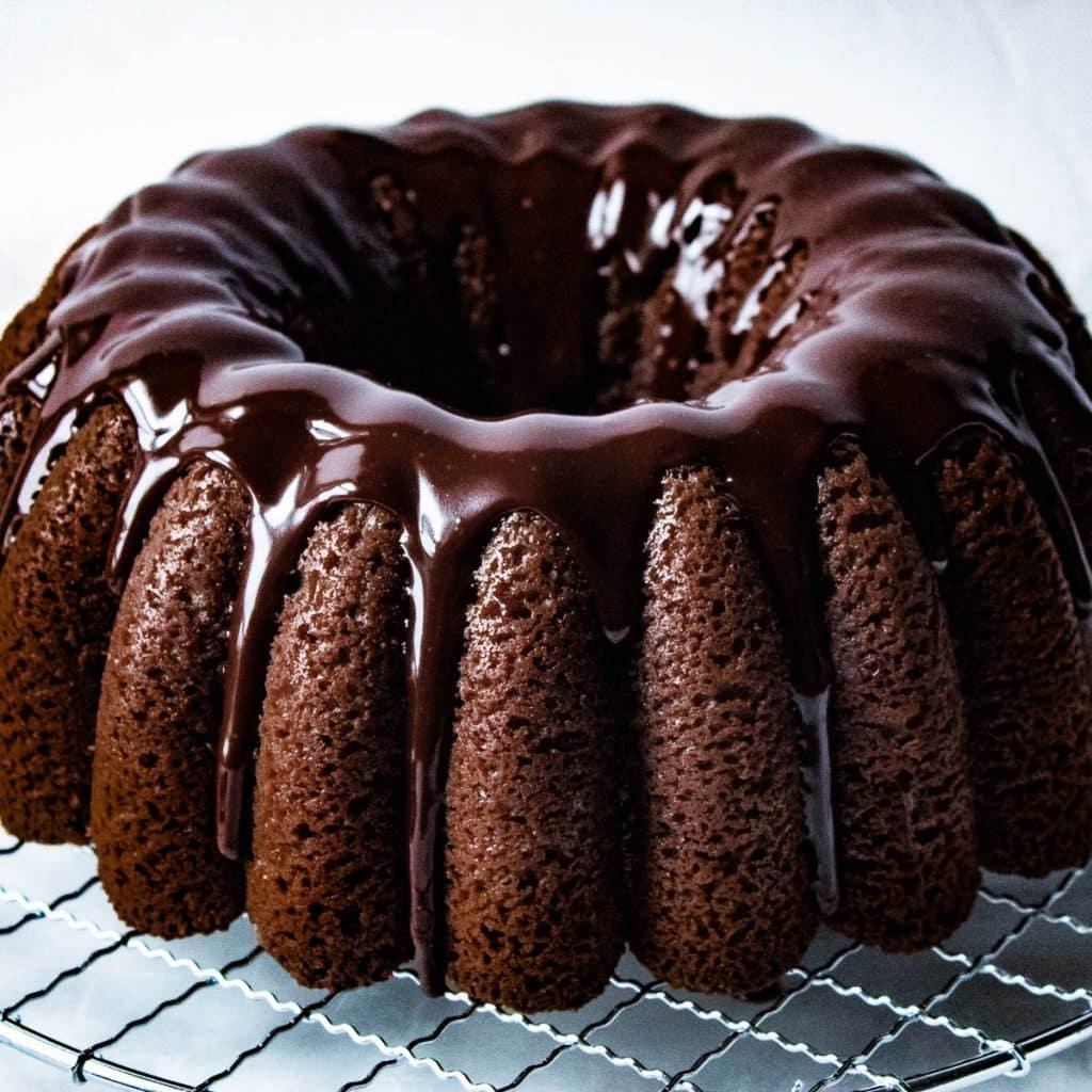 chocolate sour cream pound cake with chocolate ganache glaze