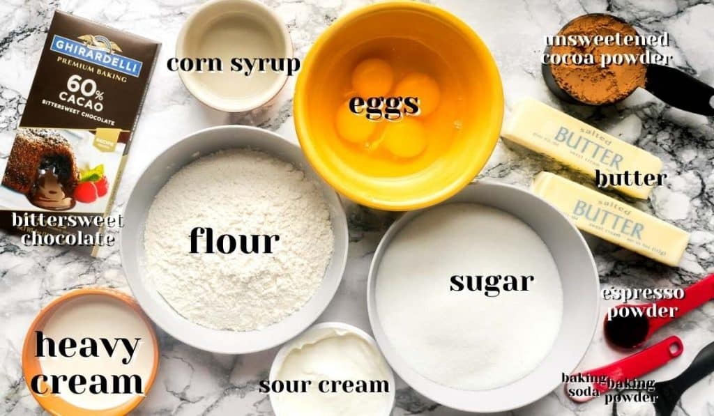 ingredients for chocolate sour cream pound cake