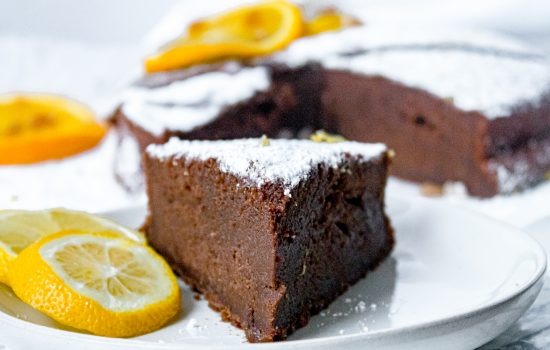 Chocolate Olive Oil Cake with Crystallized Ginger