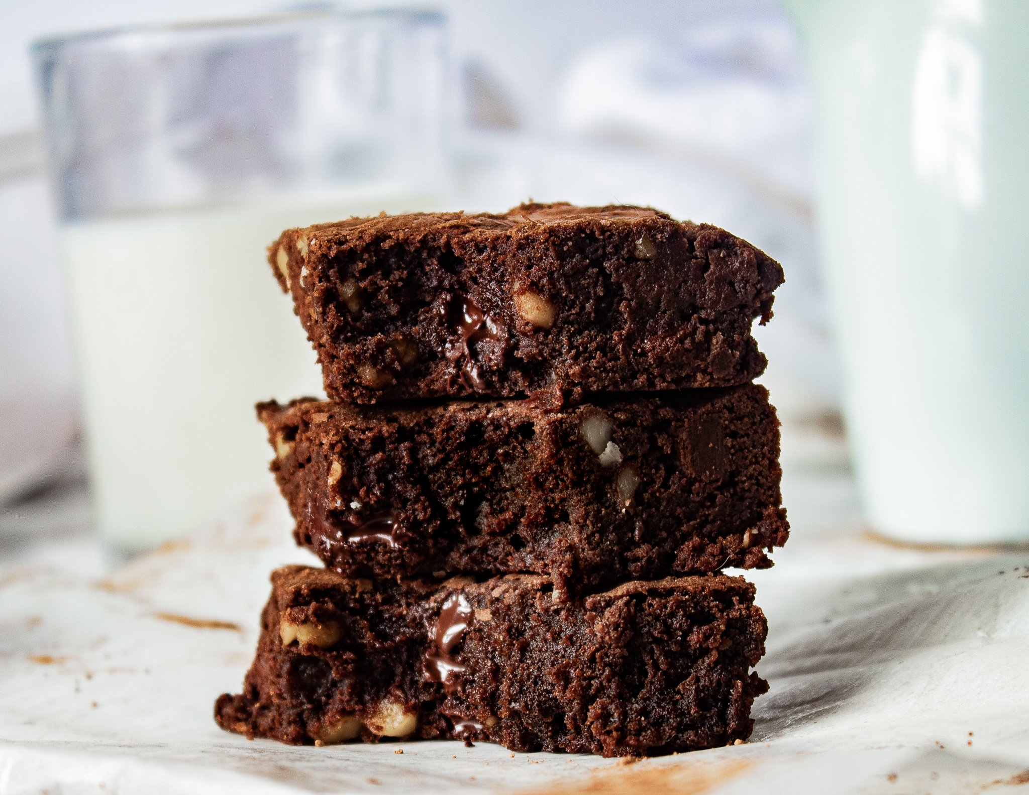 stacked chocolate walnut brownies