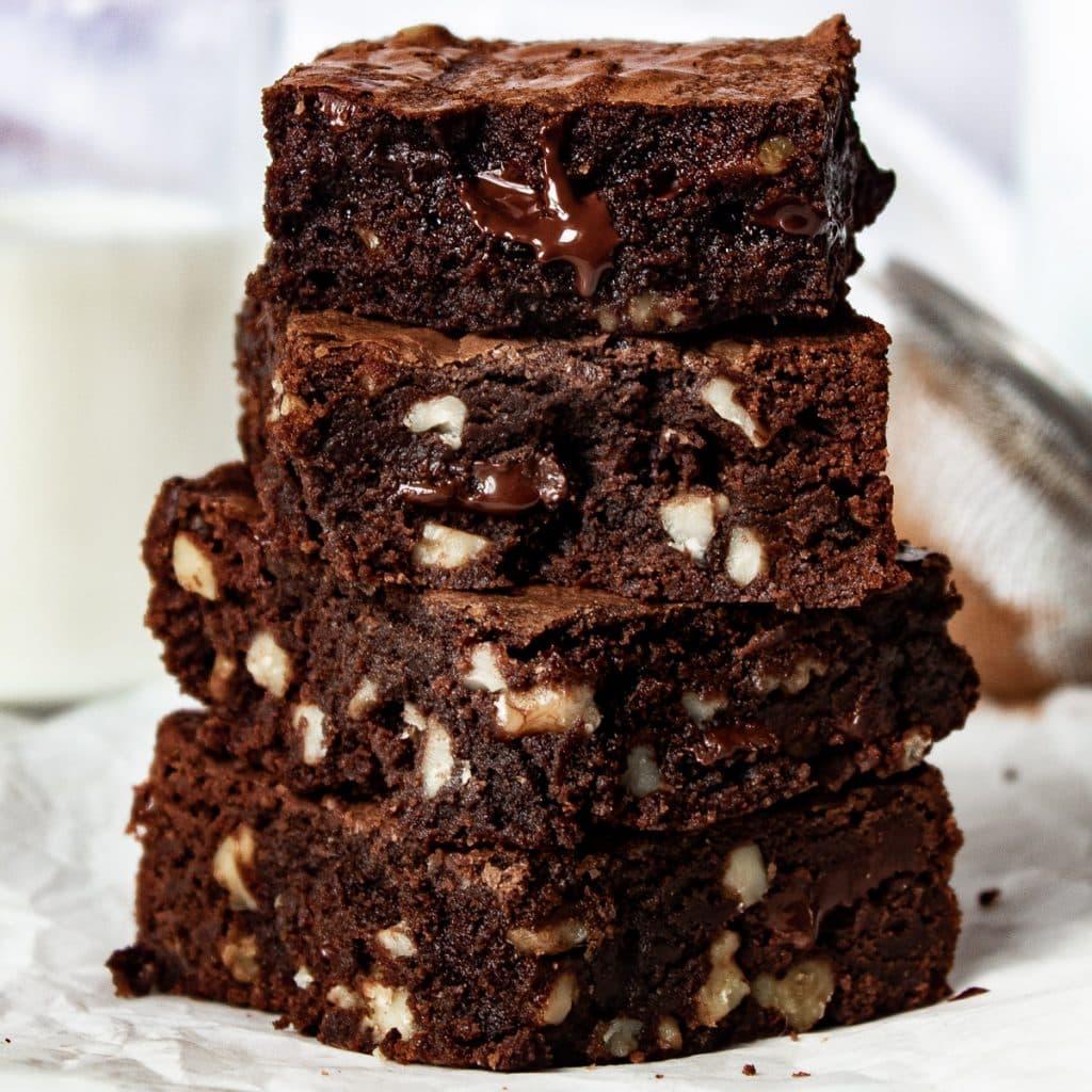 stack of dark chocolate walnut brownies