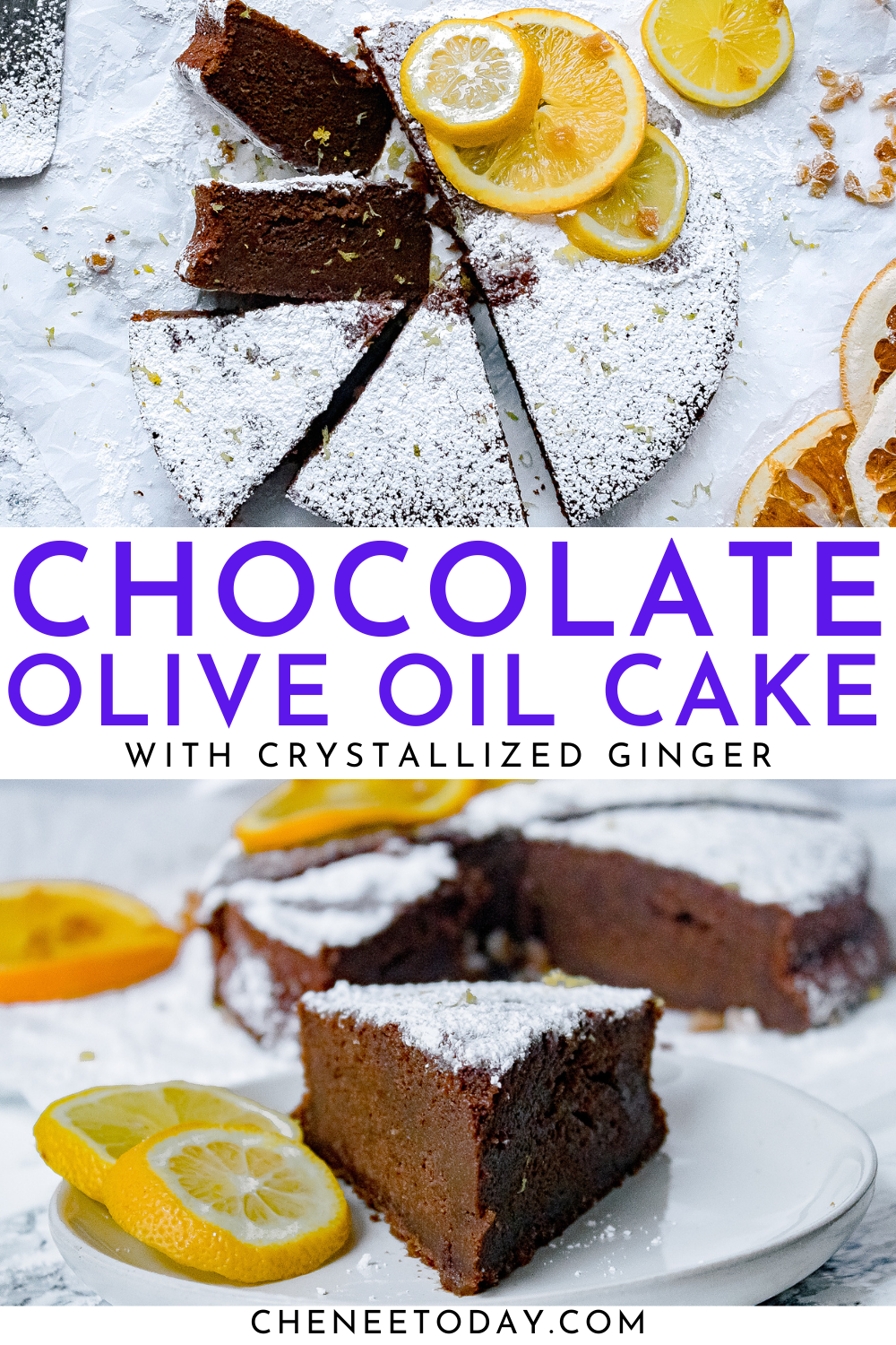 Easy Chocolate Olive Oil Cake with Crystallized Ginger | Chenée Today