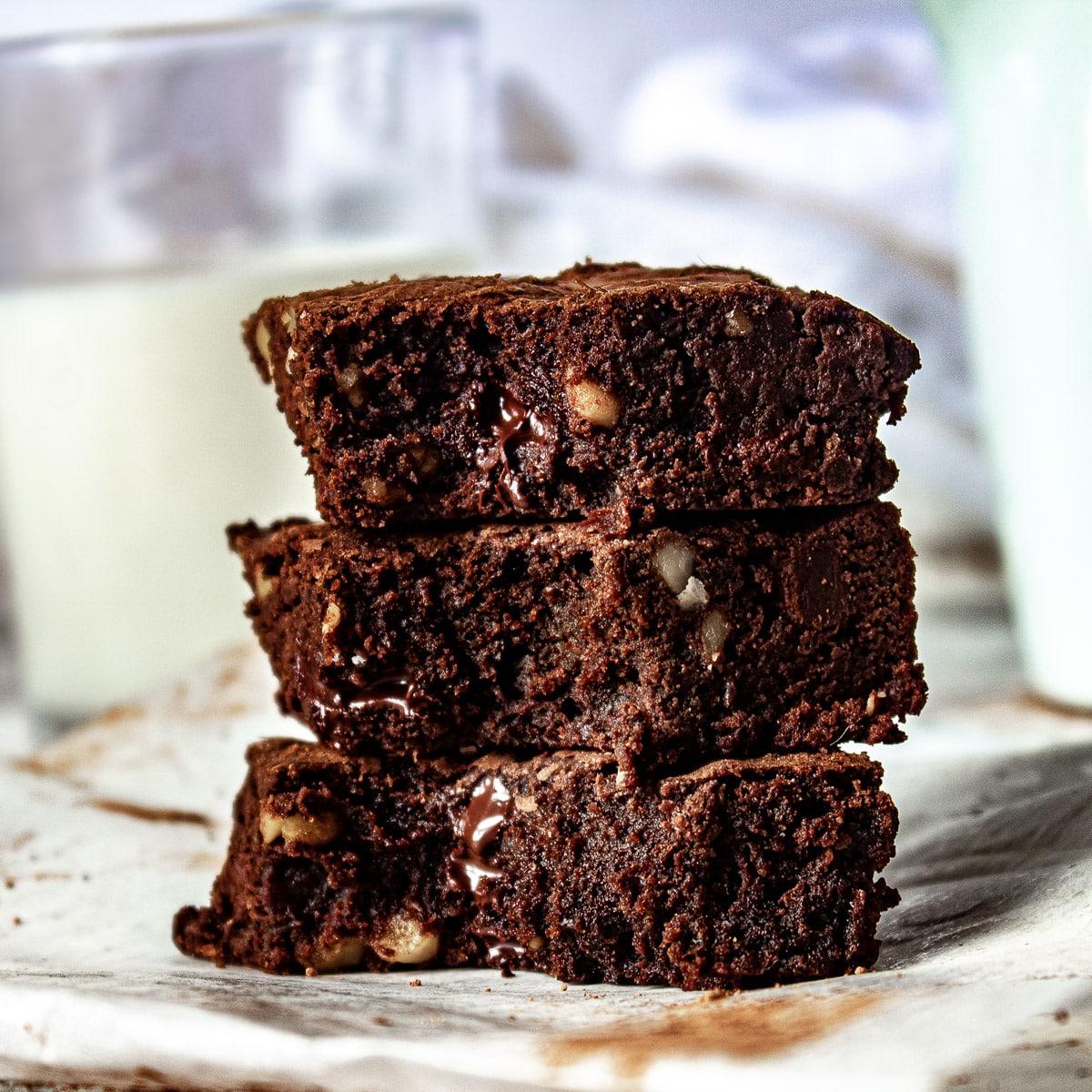 stack of chocolate walnut brownies