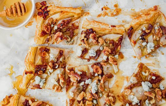Pear Puff Pastry Tart with Caramelized Onion and Blue Cheese