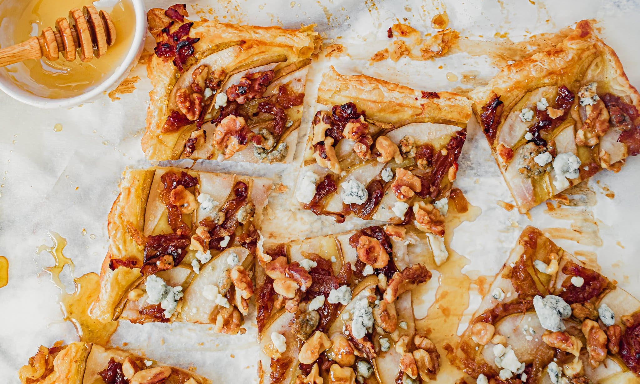 Pear Puff Pastry Tart Recipe with Pear and Caramelized Onion, and Blue Cheese | Chenée Today