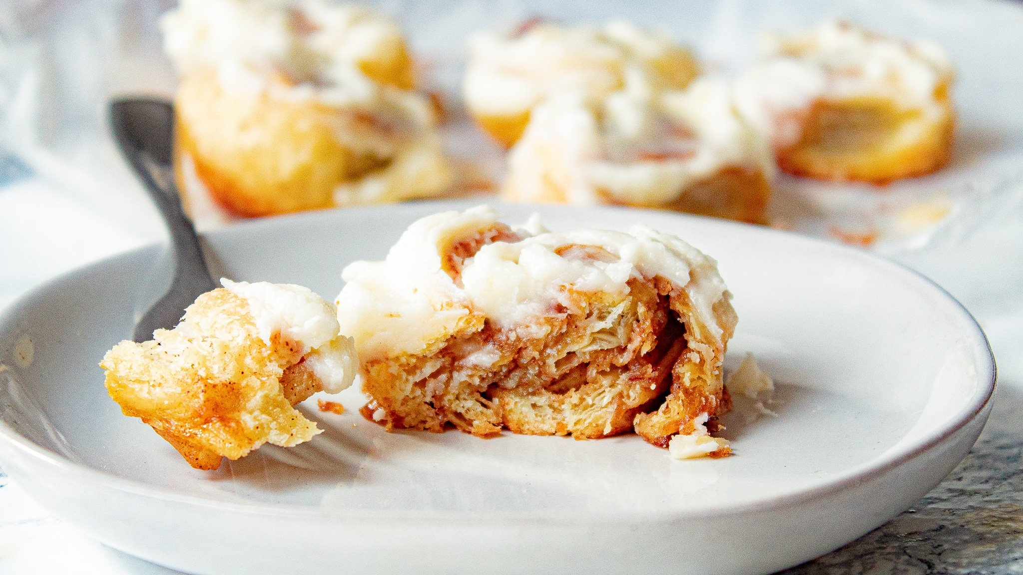 Cinnamon Puff Pastry Rolls with Cream Cheese Frosting