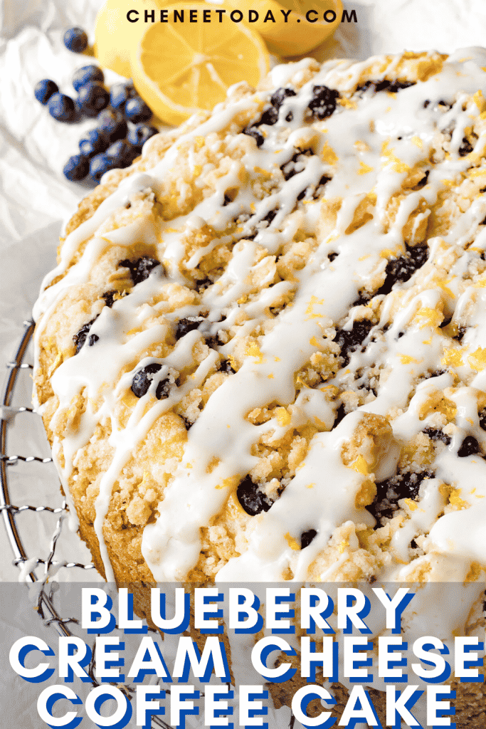 Blueberry Cream Cheese Coffee Cake with Lemon Icing | Chenée Today